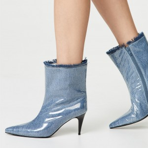 Blue Denim Pointy Toe Clear PVC Cone Heel Fashion Boots