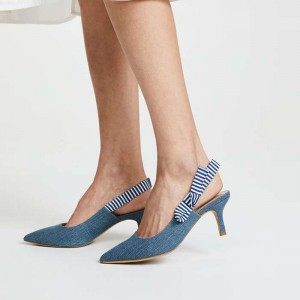 Blue Denim Slingback Pumps Pointy Toe Kitten Heels with Bow