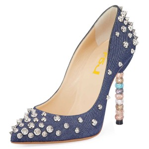 Navy Denim Silver Studs Shoes Stiletto Heel Pumps