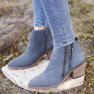 Blue Double Zips Block Heel Ankle Booties