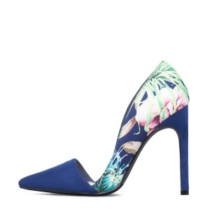 Blue Floral Heels Pointed Toe Stiletto Heels Pumps