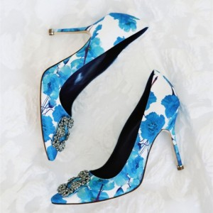 Blue Floral Heels Pointy Toe Stiletto Heels Pumps with Rhinestone