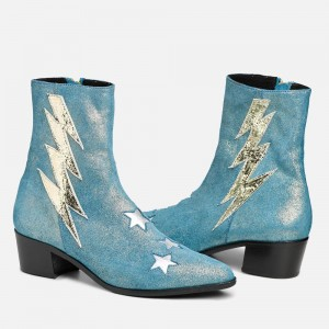 Blue Glitter Boots Round Toe Short Block Heel Ankle Boots