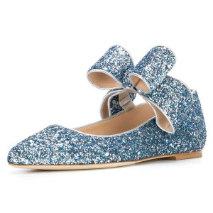 Blue Glitter Bow Pointy Toe Comfortable Flats