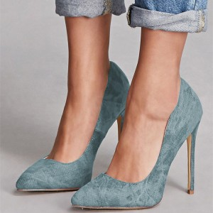 Blue Jean Heels Pointy Toe Stiletto Heel Denim Pumps