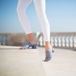 Blue Jean Heels Sandals Open Toe Denim Block Heel Mules