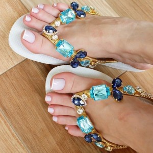 Light Blue Jeweled Sandals Rhinestone Beach Flat Flip Flops