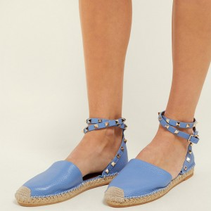 Light Blue Litchi Grain Studs Ankle Strap Comfortable Flats