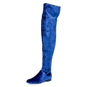Blue Long Boots Round Toe Flat Over-the-Knee Boots