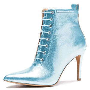 Blue Metallic Lace Up Boots Stiletto Heel Ankle Boots