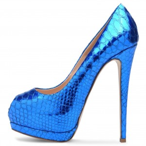 Blue Metallic Peep Toe Heels Platform Stiletto Heel Pumps
