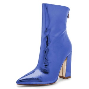 Blue Mirror Leather Chunky Heel Boots Ankle Boots