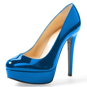 Blue Mirror Leather Platform Heels Pumps