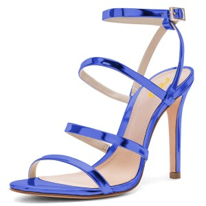 Blue Mirror Leather Stiletto Heels Four-straps Ankle Strap Sandals