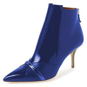 Blue Mirror Leather Pointy Toe Stiletto Heel Ankle Booties