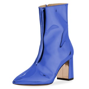 Blue Mirror Leather Zip Pointy Toe Block Heels Ankle Boots