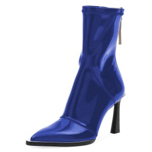 Blue Mirror Zipper Pool Heel Mid-calf Boots by FSJ
