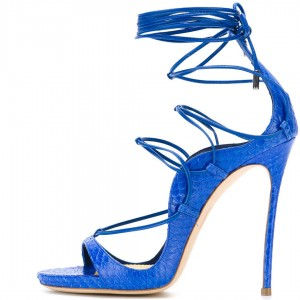 Blue Open Toe Lace Up Strappy Sandals Stiletto Heels Stripper Shoes