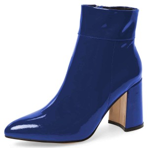 Blue Patent Leather Chunky Heel Boots Ankle Boots