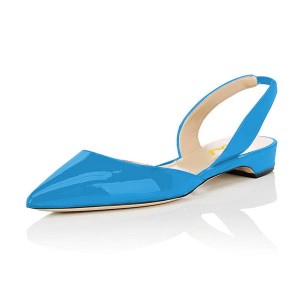 Blue Patent Leather Slingback Shoes Pointy Toe Comfortable Flats