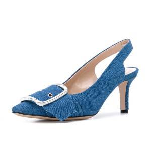 Blue Pointy Toe Slingback Heels Denim Kitten Heels Pumps with Buckle