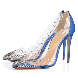 Blue PVC Clear Heels Rhinestone Stiletto Heel Pumps