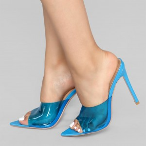 Blue PVC Mule Heels Stiletto Heel Sandals