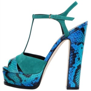 Blue Python and Turquoise Suede Platform Chunky Heel T Strap Sandals
