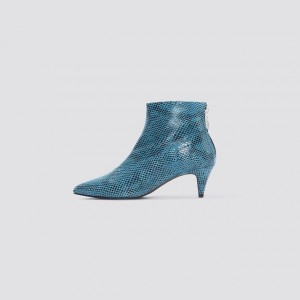 Blue Python Pointy Toe Kitten Heel Boots Ankle Boots