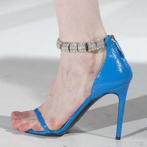 Blue Python Rhinestone Open Toe Stiletto Heels Zip Ankle Strap Sandals