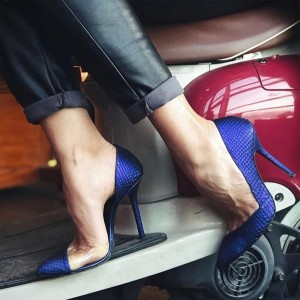 Blue Python Stiletto Heels Pumps