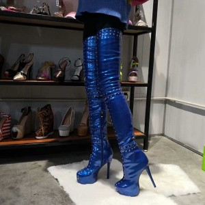 Blue Rivets Platform Stiletto Heel Thigh High Heel boots