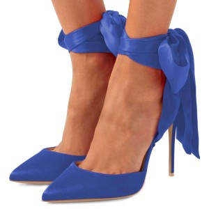 Blue Satin Ankle Strap Tie Stiletto Heels Pumps