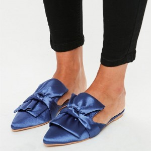 Blue Satin Bow Flat Mules