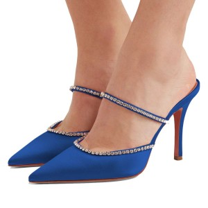 Blue Satin Pointy Toe Rhinestone Mule Heels