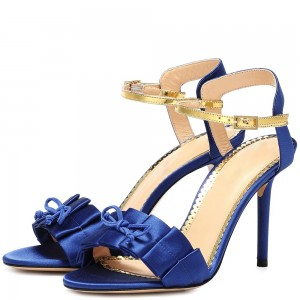 Blue Satin Ruffled Open Toe Stiletto Heel Slingback Sandals