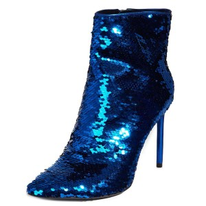 Blue Sequined Boots Stiletto Heel Ankle Boots