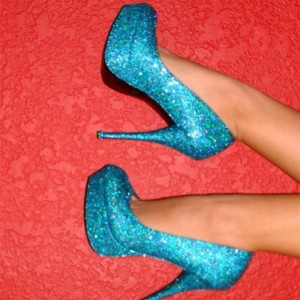 Blue Sparkly Heels Glitter Platform Pumps Evening Shoes