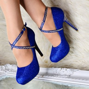 Blue Sparkly Heels Rhinestones Cross Over  Stiletto Heel Pumps