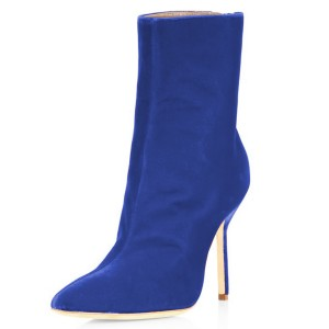 FSJ Royal Blue Velvet Boots Pointy Toe Stiletto Heel Ankle Booties
