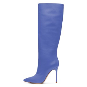 Blue Stiletto Heels Knee-high Heeled Boots