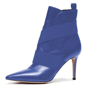 Blue Straps Pointy Toe Stiletto Heel Ankle Booties