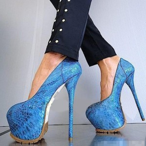 Blue Stripper Heels Python Platform Pumps Super High Heel Shoes