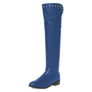 Blue Studs Round Toe Flat Long Boots Knee High Boots