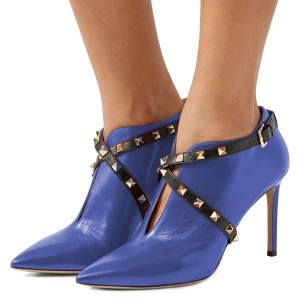 Blue Studs Shoes Cross Over Stiletto Heel Ankle Boots