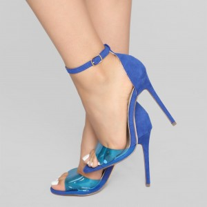 Blue Suede and PVC Stiletto Heel Clear Ankle Strap Sandals
