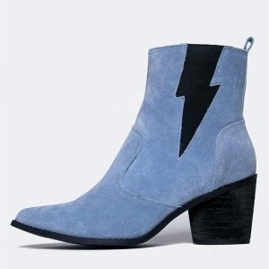 Blue Suede Black Lightning Block Heel Ankle Booties