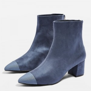 Blue Suede Block Heel Ankle Booties