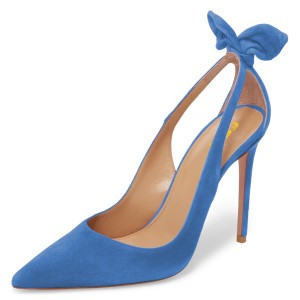 Blue Suede Bow Heels Pointy Toe Stiletto Heel Pumps