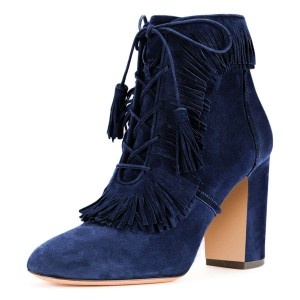 Blue Suede Chunky Heel Lace Up Tassel Fringe Boots